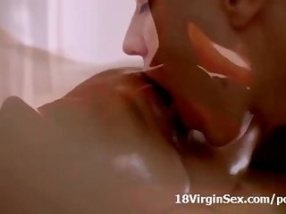 Young Nina luvs masseur's man meat inwards her laying on the massage table